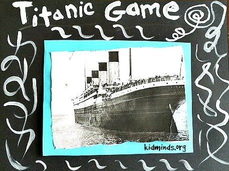 Titanic Math Game for ages 4-12.  Save the treasure before Titanic sinks!   Cooperate board game with free printable.