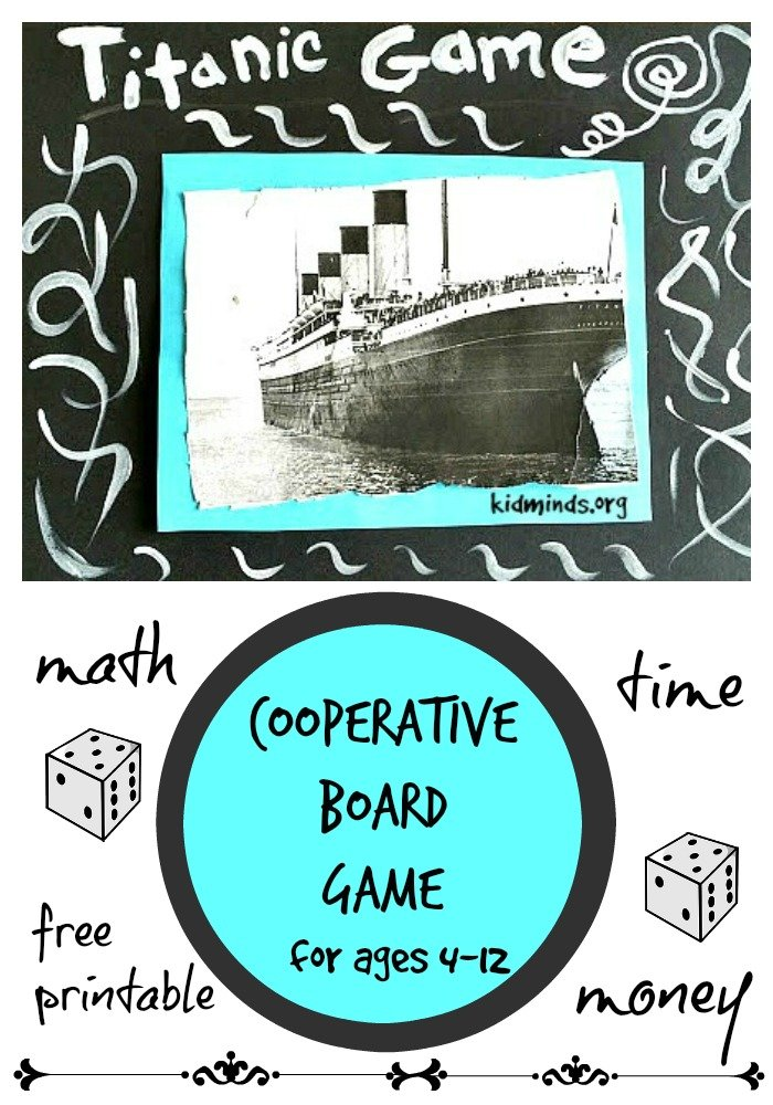 Titanic Math Game for kids 4-12.  Save treasures before Titanic sinks!  Great way to practice counting, adding, time sense, keeping score, money sense,...