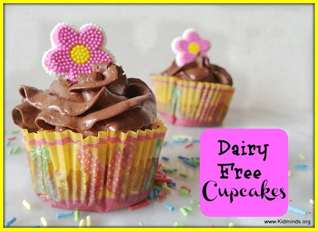 These dairy free cupcakes have the whole sensory package working for them: they look good, smell divine, and taste even better.  It's hard to notice they have no dairy, wheat or white sugar.
