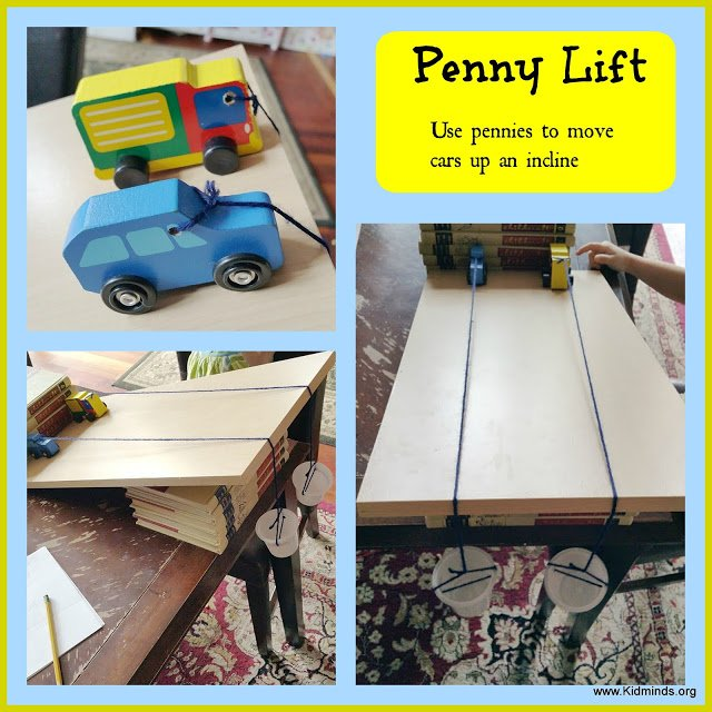 Easy Science at Home, use the weight of pennies to pull the car up the ramp