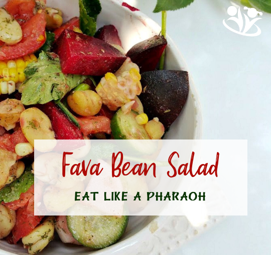 Make a fava bean salad with your kids and learn more about Ancient Egyptian cuisine, what Pharaohs ate, and why fava beans were considered magical by someand evil by others. #pharaoh #Egyptianfood #kidscook #kidschef #cookingkids #homemade #salad #favabeans