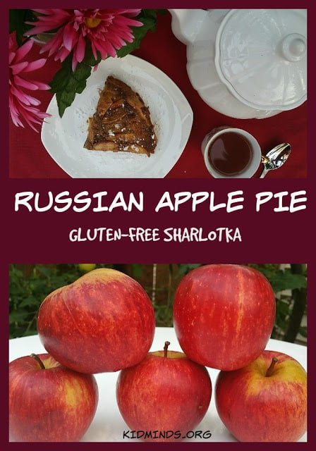 Traditional Russian Apple pie, gluten-free and delicious.  Easy to make.  Fun to eat.  Healthy never tasted so good!