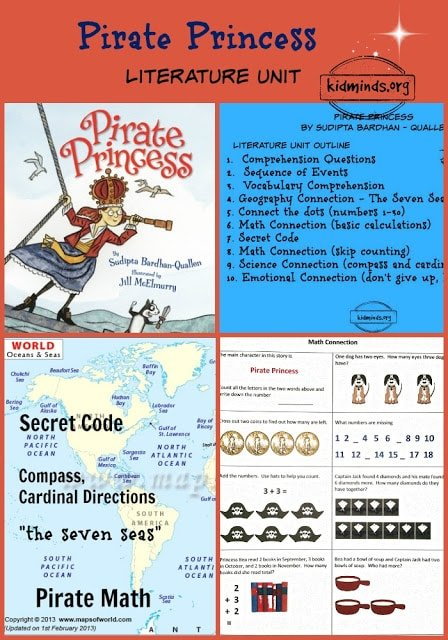 """science, math, geography, emotions, """"the seven seas,"""" compass, cardinal directions, treasure hunt, connect-the-dot"""