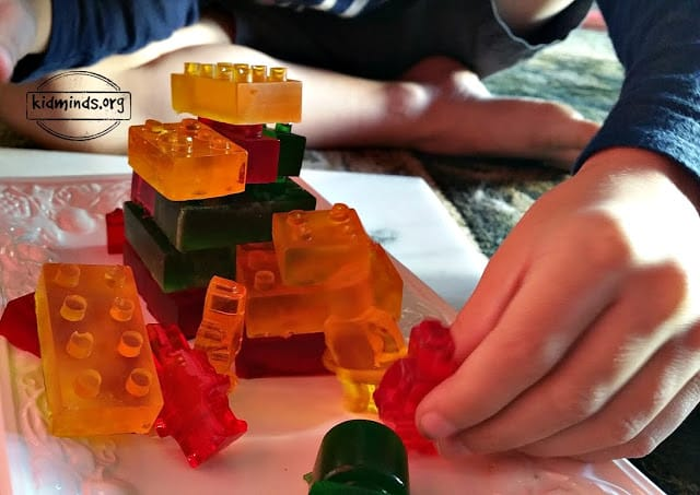 Edible LEGOs: I highly recommend this for your next project with kids. It's pretty quick, not too messy and it's good for hours of Lego Fun. The more we do it, the more steps kids can do on their own without my prompts. It's a great learning experience!