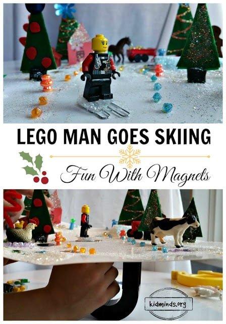 LEGO fun, magnet fun, learning fun, how to create Winter Wonderland