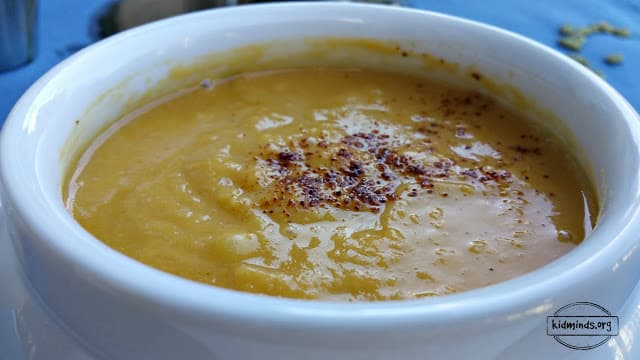Fantastic cold weather soup that freezes well.  Bean, Squash, Apple with Pumpkin Oil.  Everyone will be asking for seconds.