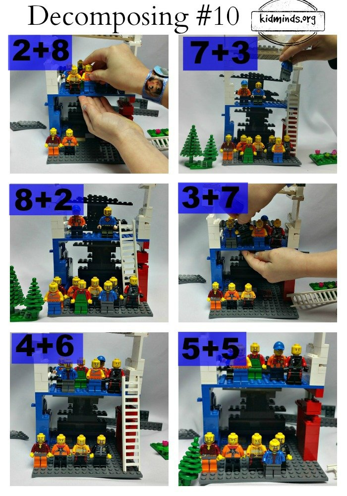 In this lesson children will be decomposing number 10 with LEGO people. Decomposition is a skill that requires practice. In earlier lesson we decomposed number 5, today we are moving up to 10. Math for little kids is about laying a strong foundation. They might know what number 10 is, but number 10 is more than the name it holds. Truly understanding a number requires ability to compose and decompose it. Read more about First Math Lessons in the introduction post.