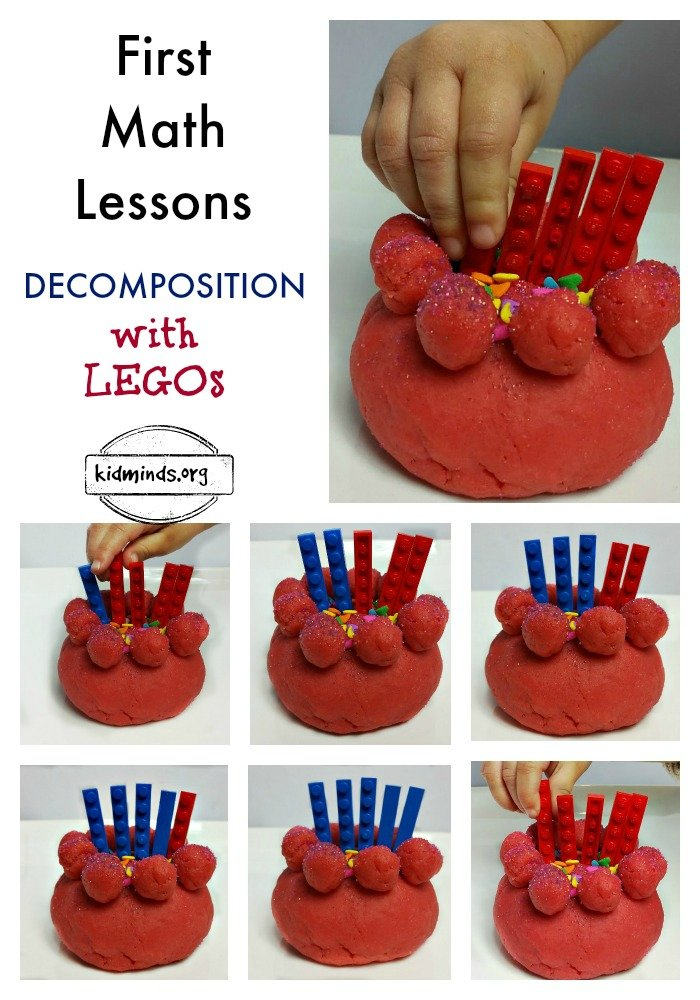 Once your child learns how to count to 10, it's time for decomposition. Decomposition is a fancy word that means breaking down the numbers into their subparts. Eventually, when kids can count to 100, they will be decomposing numbers into tens and ones. But for now they only need to understand that numbers can be created using a variety of addends. 2+5, 3+4, and 6+1 all equal 7. In this lesson, children will practice simple decomposition with LEGOs.
