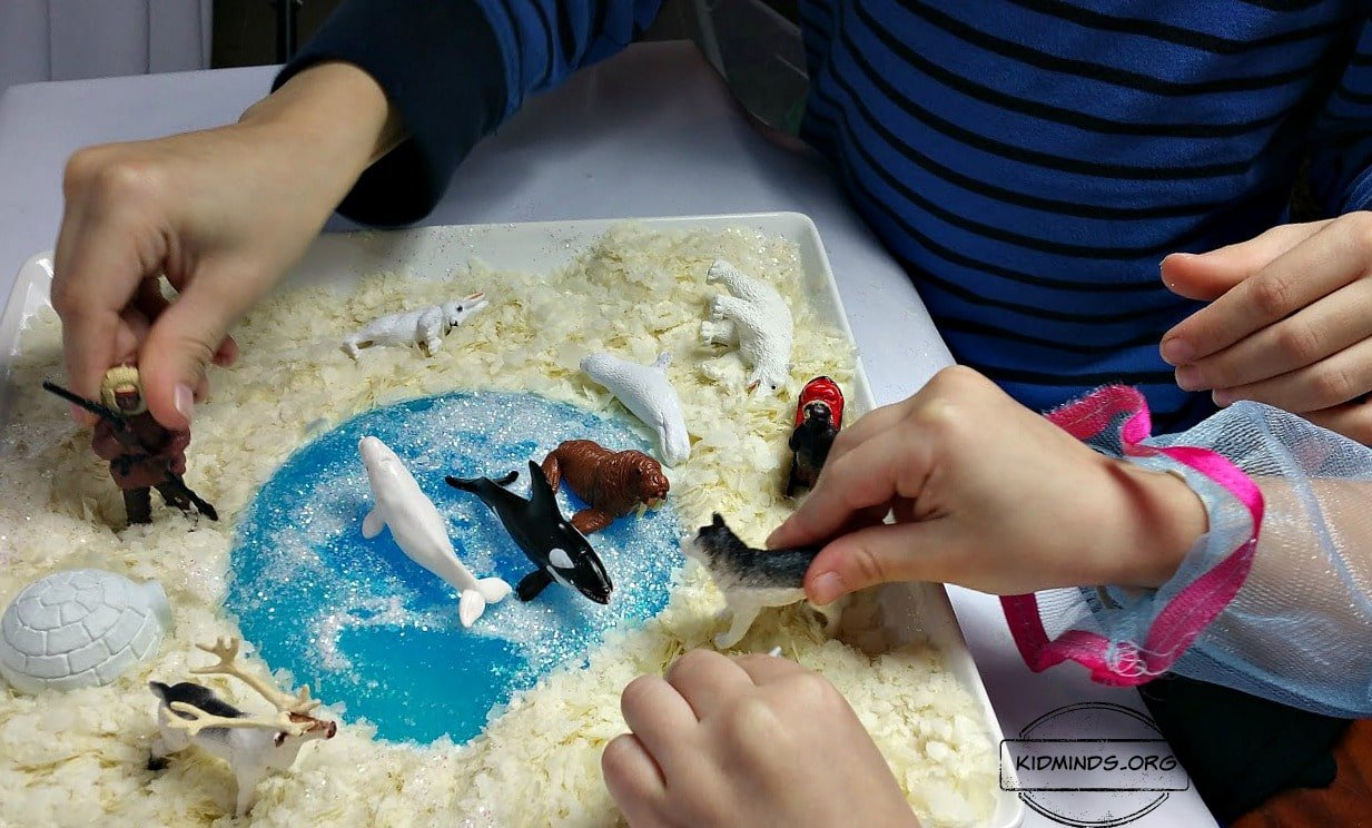 Arctic for Kids is a Winter Sensory Play idea that is a fun year round. All you need is a bag of potato flakes, chunk of ice and some arctic animals. If you are brave, add glitter for an exceptionally beautiful glittery snow.