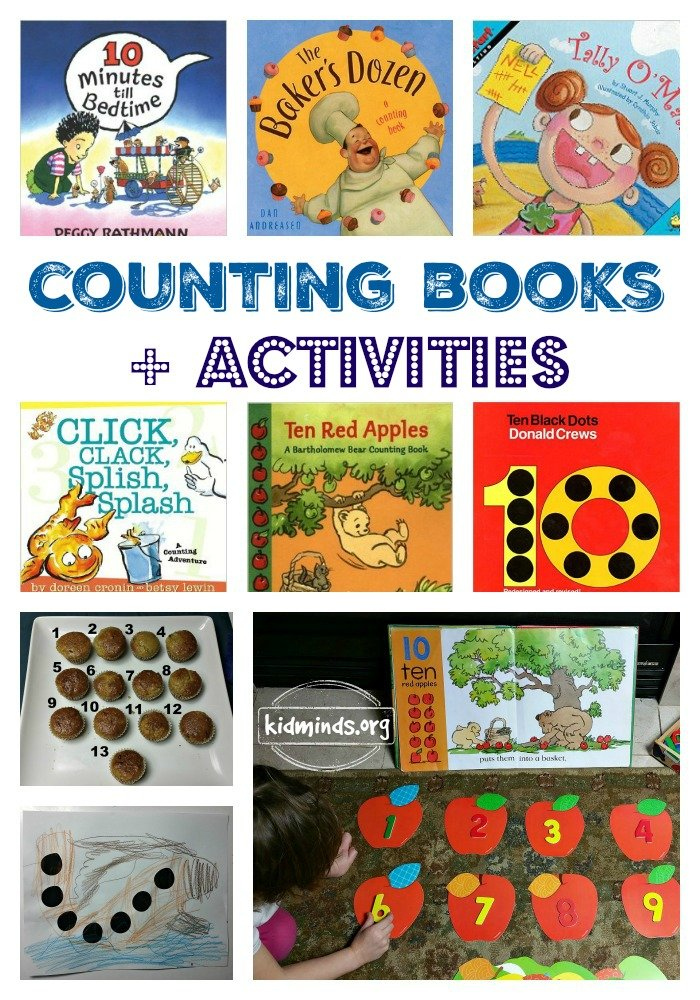 Counting Book plus Activities. Math themed books and simple math activities are cornerstones of our first math curriculum.