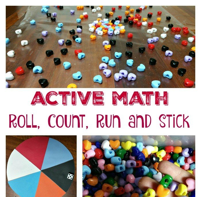 Active Math: Roll, Count, Run and Stick.  Let kids burn some energy without leaving the house with this fun game. Your kids will have so much fun sorting and counting they will be asking for it every day.  #activemath #ponybeadsmath
