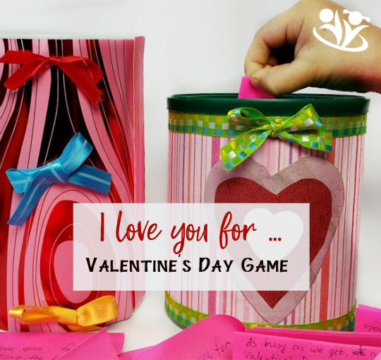 Valentine's Game for the whole family: I love you for... Love and Laughter come together in this simple, but meaningful Valentine's Day Game. #valentinesday #MakingMemories #funwithkids #intentionalparenting #valentinesdayforkids