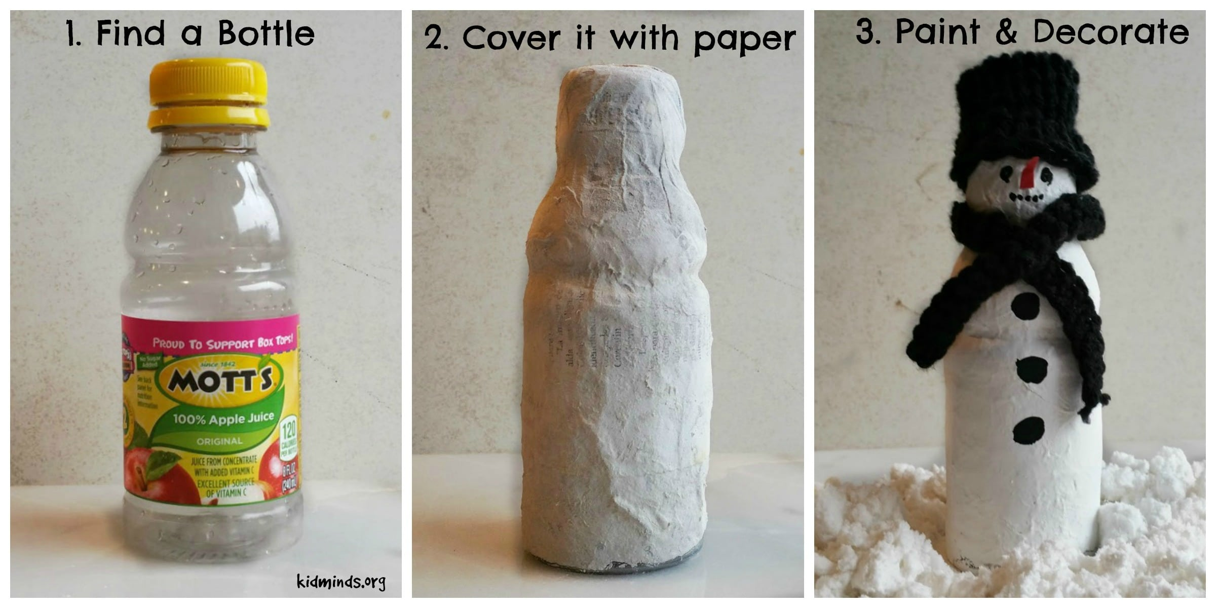 Papier-mache snowman family.  Artistic expression and sensory play combine in this fun and easy craft project.