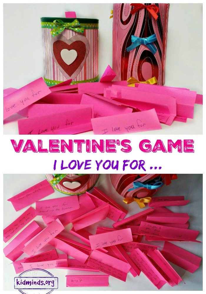 Valentine's Game for the whole family: I love you for... Love and Laughter come together in this simple, but meaningful Valentine's Day Game.