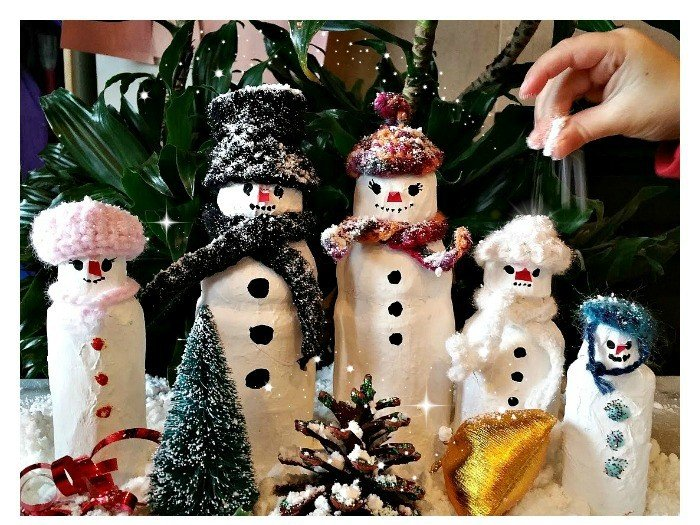 Paper-Mache Snowman Family Craft