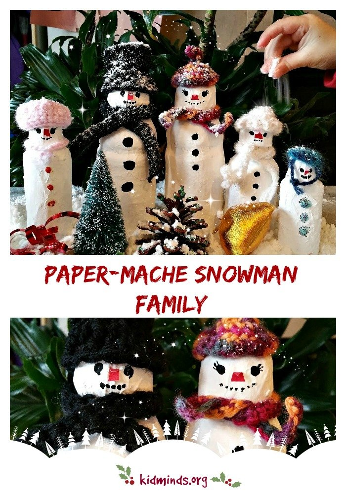 Paper-mache Snowman Family.  Three ingredients take center stage in this fun papier-mâché project: (1) newspaper, (2) glue and (3) plastic bottle.  Repeat layering until you are happy with the shape.  Paint and decorate!