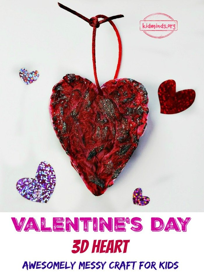 If you are looking for great Valentine's Day Craft, we've got it for you.  This Valentine's Day 3D Heart is messy to make, but provides loads of sensory fun. Surprise your friends with one of a kind gift this year.