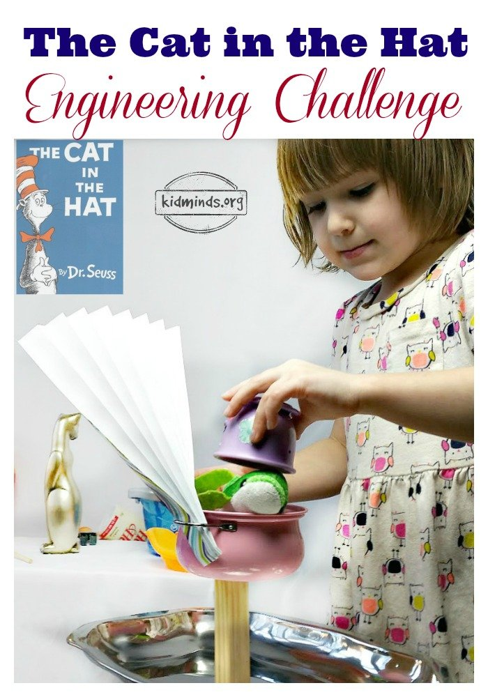 The Cat in the Hat Engineering Challenge.  Contrary to what you might think science projects do not require expensive things.  Grab simple everyday objects from around the house and challenge kids to balance them like the Cat in the Hat.