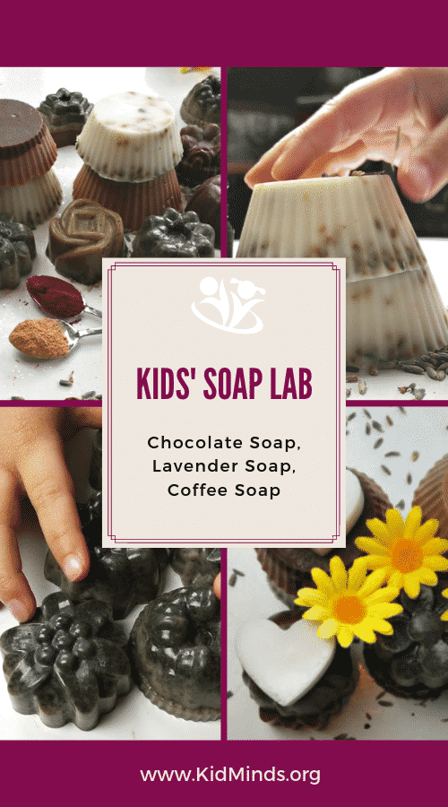 Soap making is a fun and educational project for kids. All you need are a few inexpensive, easily accessible items, plus essential oils for fragrance and kitchen staples like cocoa and turmeric for color. #kidsactivities #scienceforkids #chemistry101 #formoms #homemade #handsonlearning #rainydayfun #homemadesoap