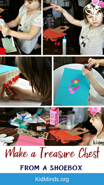 Make your own treasure chest using a shoebox and glitter and glue. #artsandcrafts