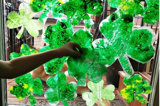 Melted Shamrock Leaves – crayons and waxed-paper craft