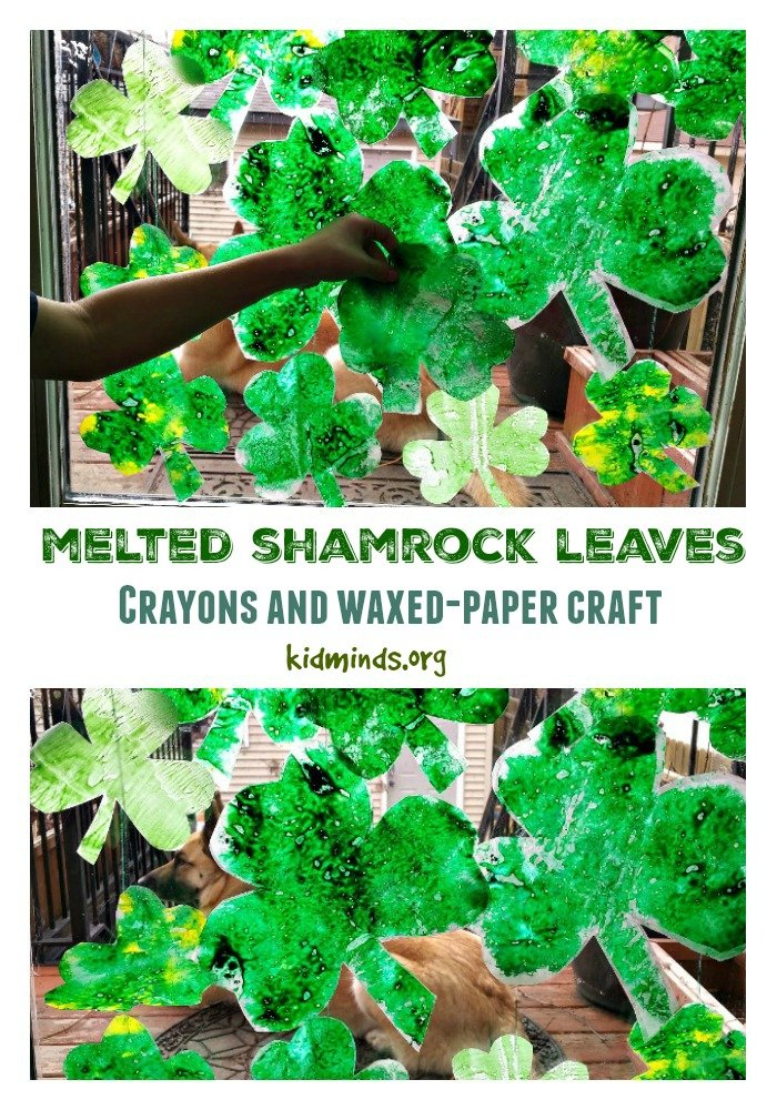 Ever since we discovered that melted crayons offer endless opportunity for exploration, we've been doing some variation of this project for each holiday, and of course, we made melted Shamrock leaves for St. Patrick's Day.
