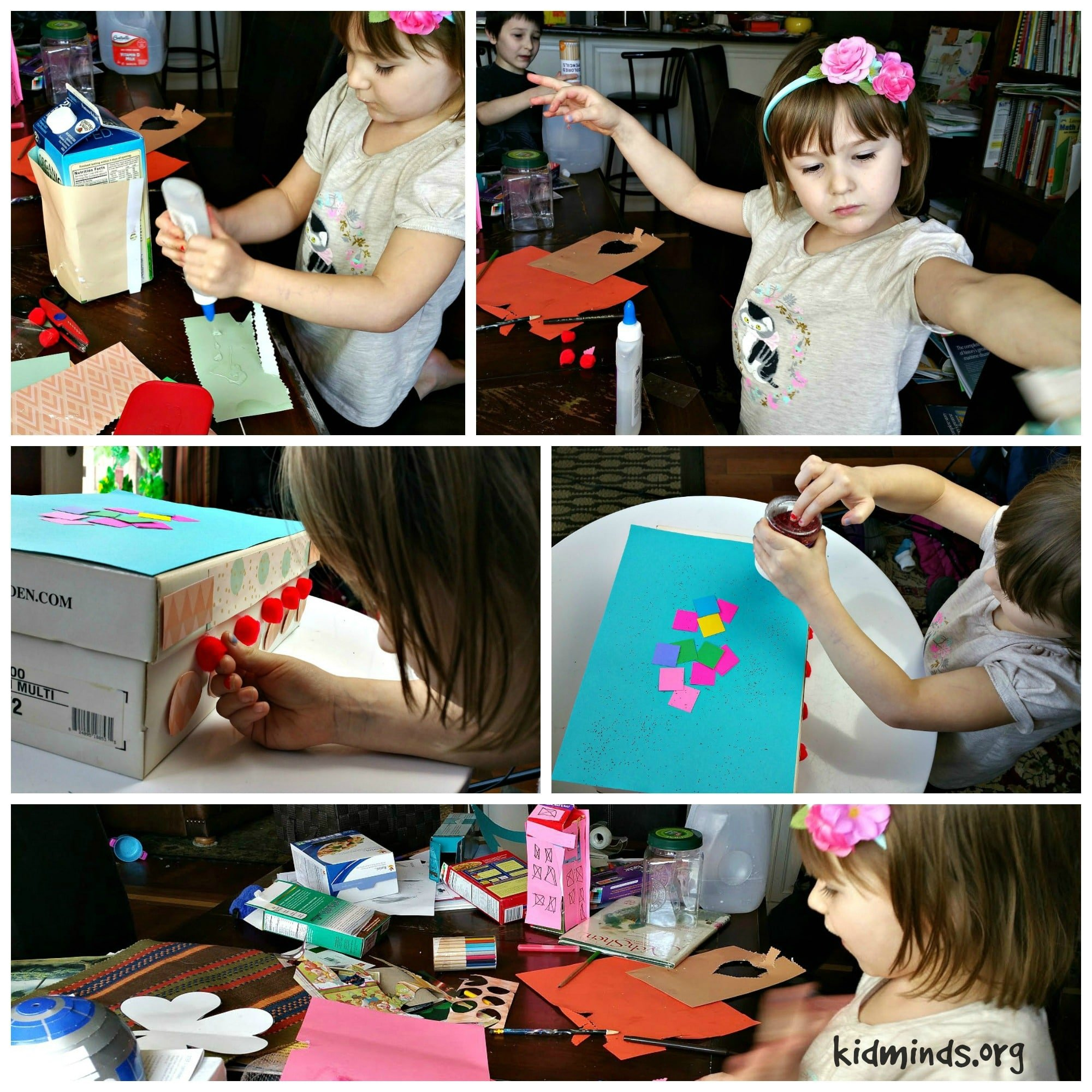 Turn shoe box into a treasure chest with a few supplies around the house.  Glue, glitter, construction paper and maybe some magazine clippings.... stir imagination and encourage creativity.