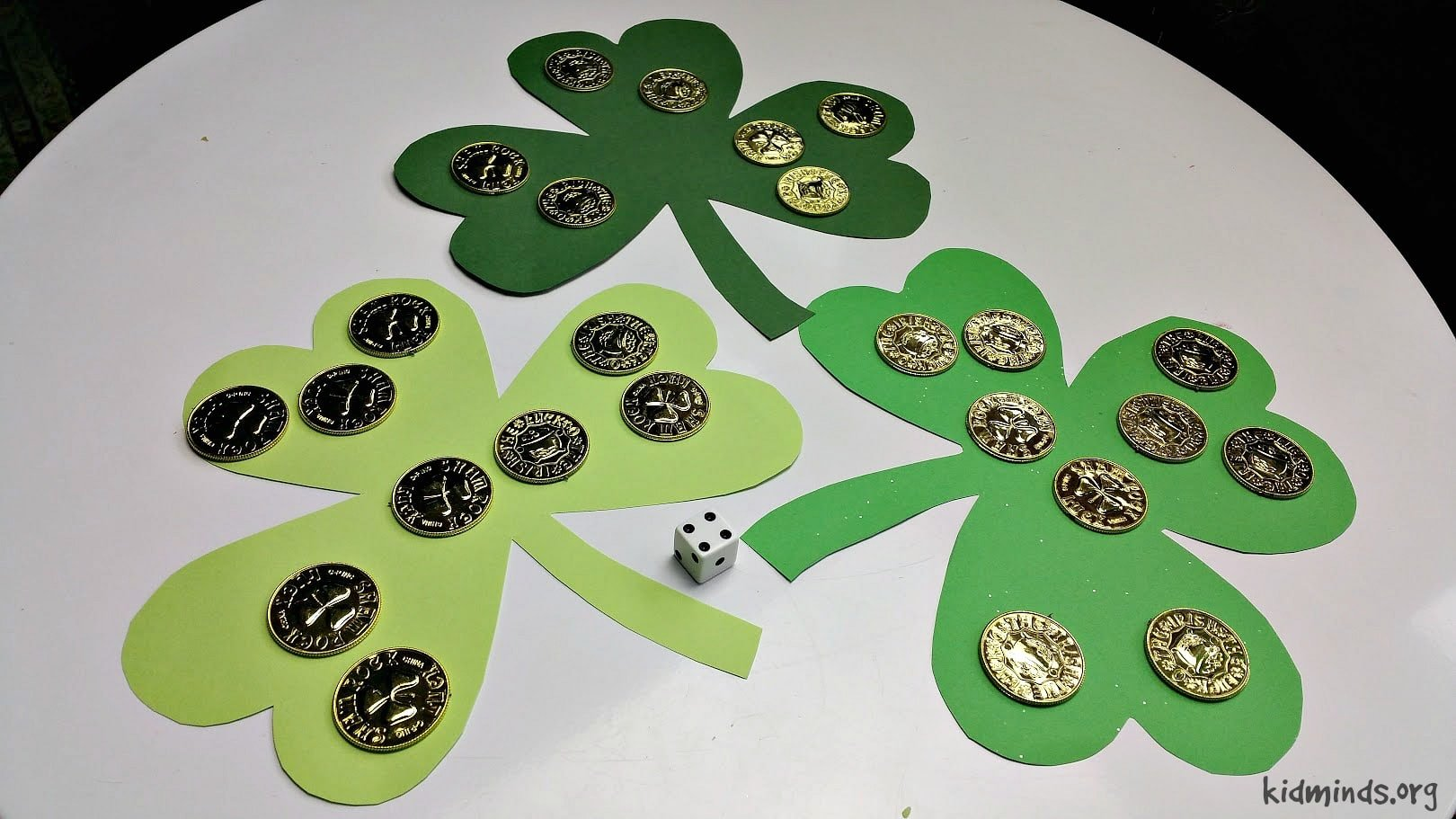 St. Patrick's Day Counting Game that is easy to set up. #earlychildhoodeducation #homeschooling #math #invitationtoplay
