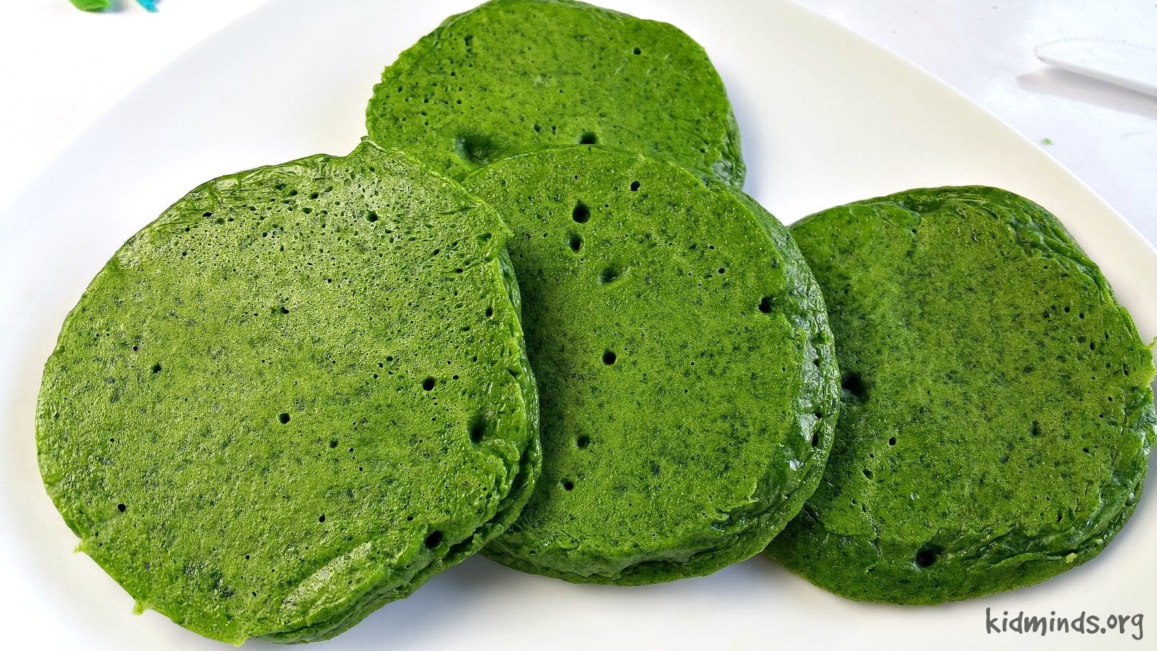 Green pancakes without artificial colorings.  The rich green color comes from fresh and nutritious spinach!