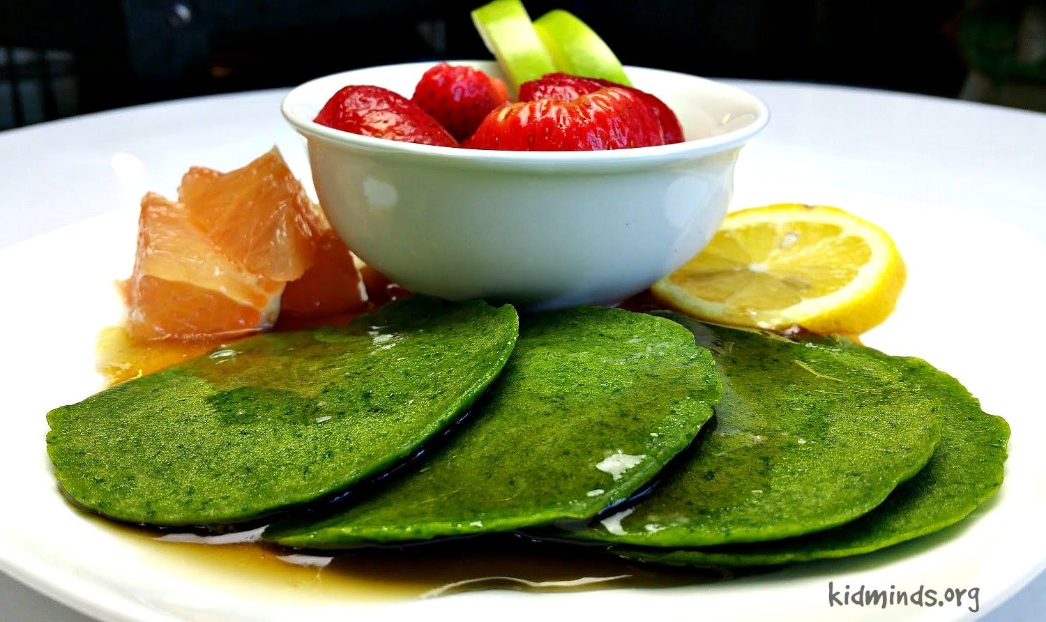 Green Pancakes without artificial colorings.  The rich green color comes from fresh and nutritious spinach.  Enjoy them on St. Patrick's Day or any other day of the year!