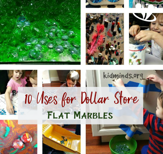 We have ten activities and craft ideas that use flat marbles. Russian Roulette, soring, scooping, dumping, painting, ... pick a project! #flatmarbles #learningkids #handsonlearning #funathomewithkids