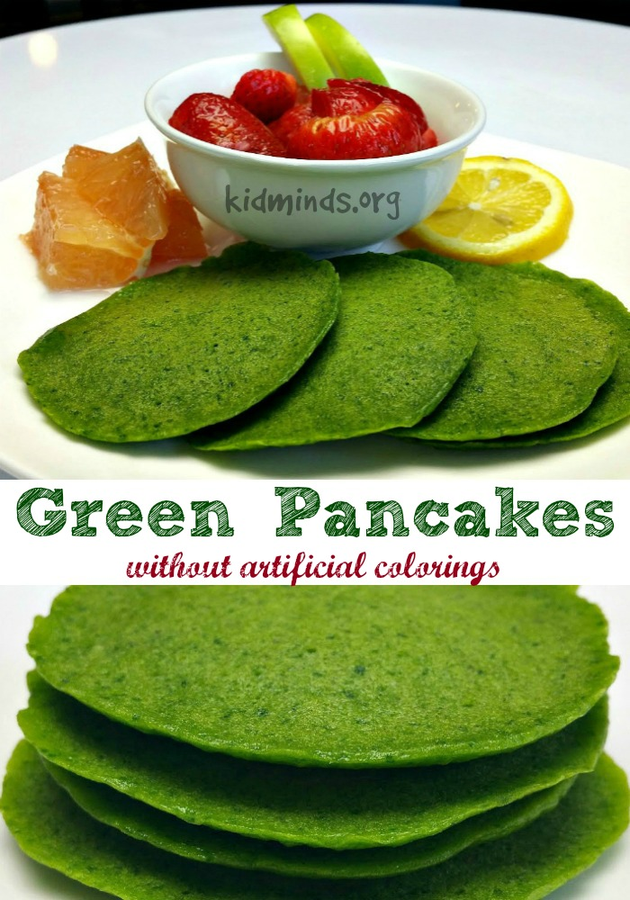 Green pancakes without artificial colorings.  The rich green color comes from fresh and nutritious spinach.  Perfect for St. Patrick's Day or any other day of the year!