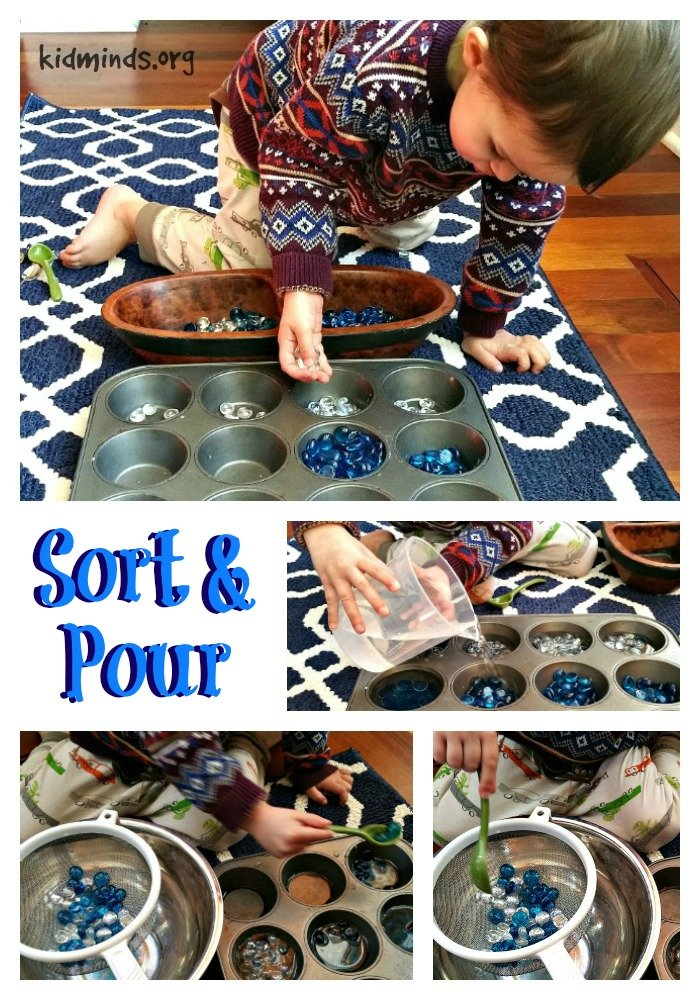 Ten Uses for Dollar Store Flat Marbles - Sort and Pour