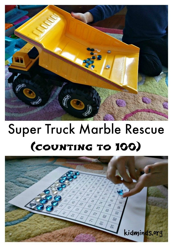 Ten uses for Dollar Store Flat Marbles - super truck marble rescue (counting to 100)