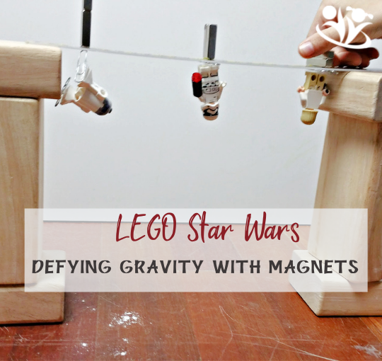Easy and fun Star Wars Science experiment for Star War enthusiasts. Defy Gravity with magnets and paper clips. #science4kids #kidsactivities #kidminds #laughingkidslearn #STARWARS #LEGO