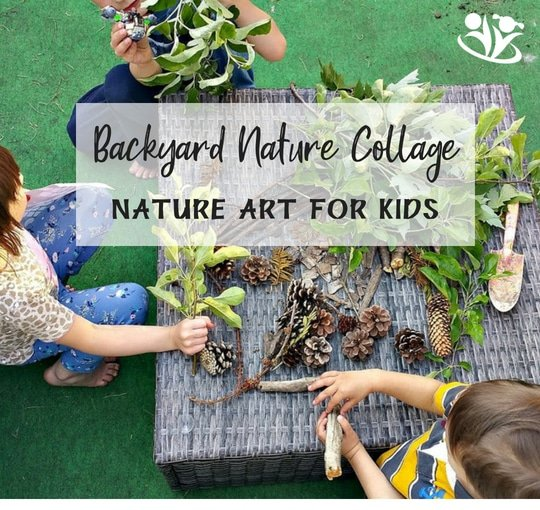 Backyard nature collage with kids #nature