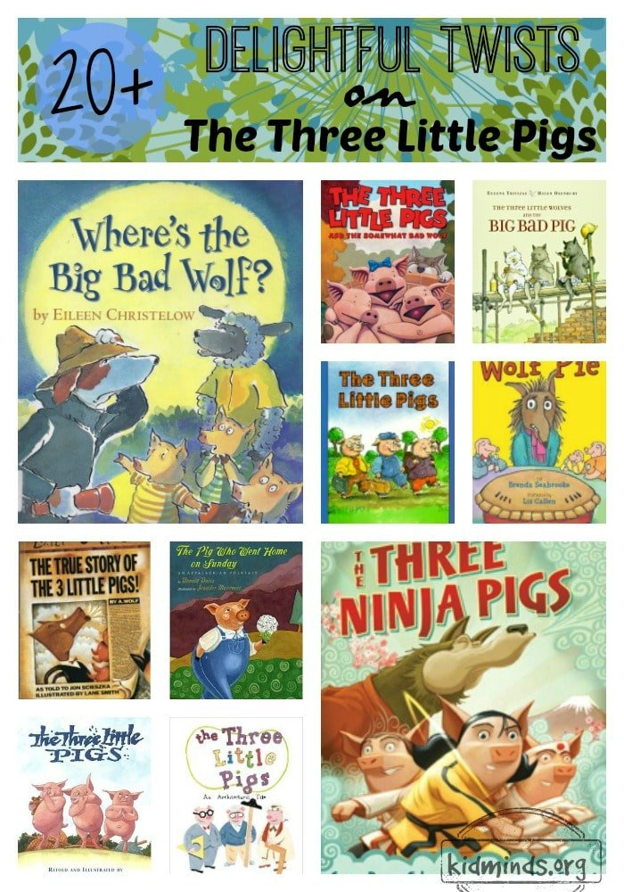 Delightful variations of the classic story of The Three Little Pigs that we enjoyed reading and discussing. #booksforkids #kidlit #storytime #threelittlepigs