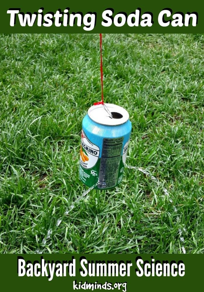 Twisting Soda Can Experiment.   In this fun activity we use the force of gravity to twist an empty soda can.   Perfect for Backyard Summer Science