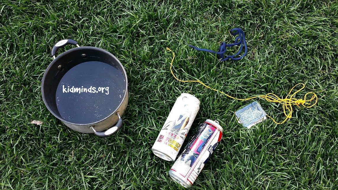 Twisting Soda Can experiment is a fun way to twist an empty soda can without touching with hands, but with the crafty use of the force of gravity. You can call it an Introduction to Physics for Little Kids.   #physics #creativelearning #outdoorlearning #backyardscience #laughingkidslearn