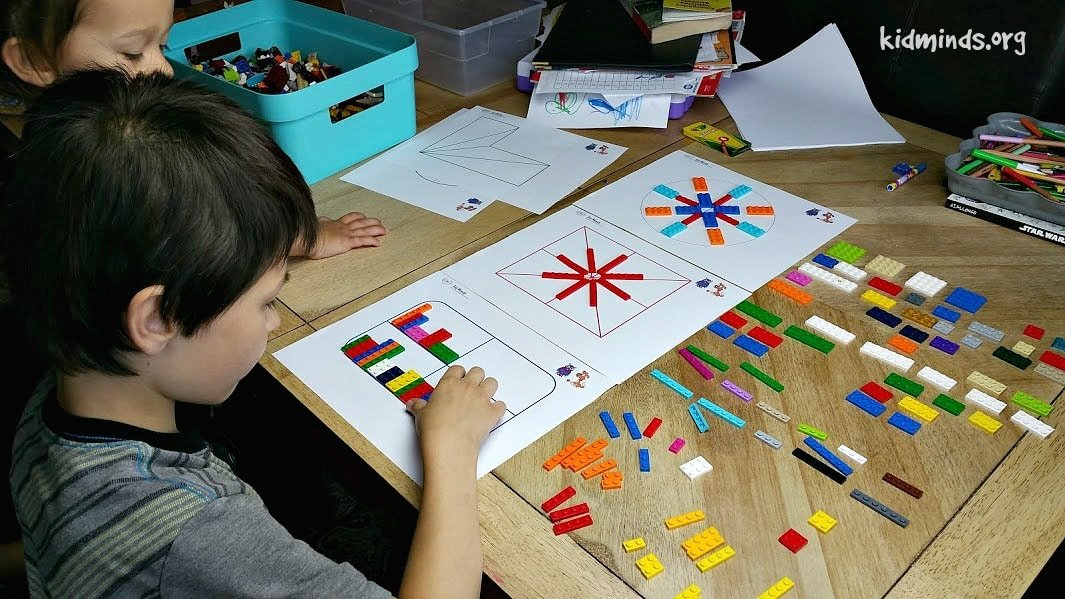 Symmetry and Patterns with LEGO bricks with Free Printables.  Help your kids develop mathematical thinking, while they are having fun.  Part of the Science of symmetry Unit study.
