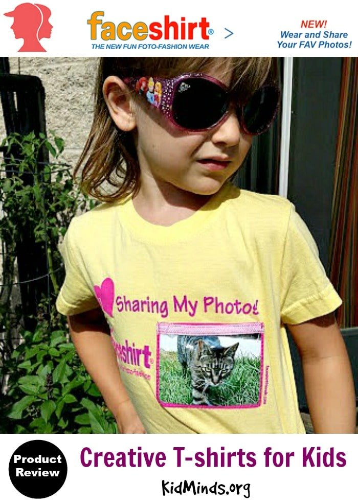 Creative T-shirts for Kids.  With Faceshirts kids can celebrate their own style and creativity.  And they will spend countless hours creating new ideas to display in their pix-pockets.