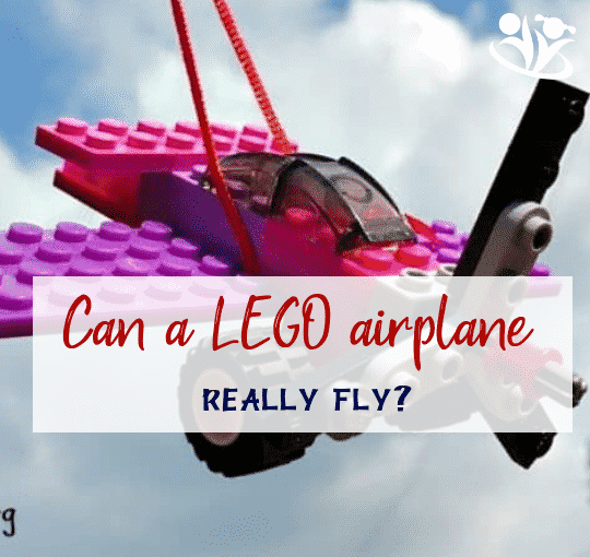 How to make LEGO airplane really fly. All you need is a LEGO airplane of your own design, kite string, and a paper clip! #LEGO #kidsactivities #earlylearning #kidsfun ##playmatters #familyfun