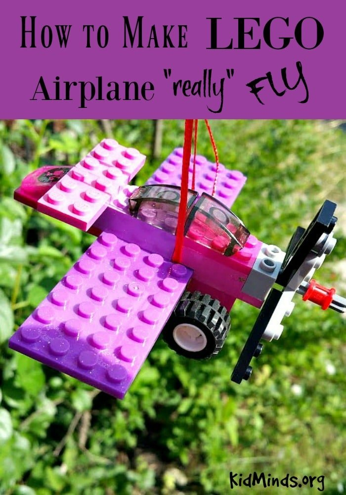 How to make LEGO airplane really fly.  All you need is a LEGO airplane of your own design, kite string, and a paper clip!