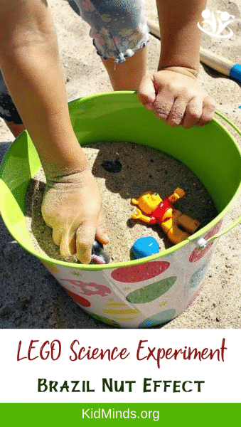 Use LEGO and sand to study physics with kids. Grab a bucket of sand and some LEGO bricks for a quick demonstration of a Brazil Nut Effect. #LEGO #scienceforkids #kids #earlylearning #handsonlearning #sandexperiments #STEAM
