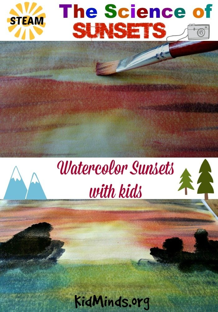 Science of sunsets! Painting Watercolor Sunsets with Kids is FUN!  And educational!   Educational, you ask?  That's right, the colors in sunsets are the realm of physics and atmospheric physicists.  So go ahead, make plans to enjoy the beauty of sunset as a family and introduce your kids to physics at the same time.