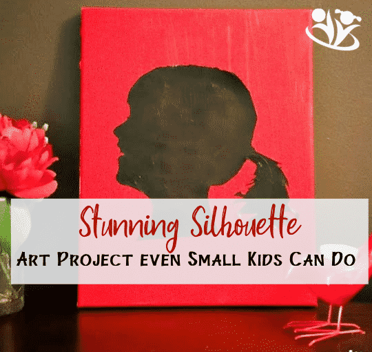 Acrylic #Silhouette even small #kids can do. Besides a little help with cutting the whole project was completed by my 5-year old! All you need is canvas, paint, brush, and scissors! #kidart
