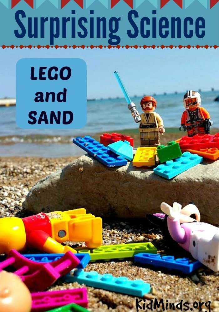 Surprising Science for Kids LEGO and SAND.  Time at the beach is always about discovering and exploring.  But if you are looking to sneak in an extra dose of physics then add this simple science activity to your next trip to the beach.   Alternatively, you can try this experiment in your own backyard or a park sandbox.  All you need is sand, LEGO and a bucket.
