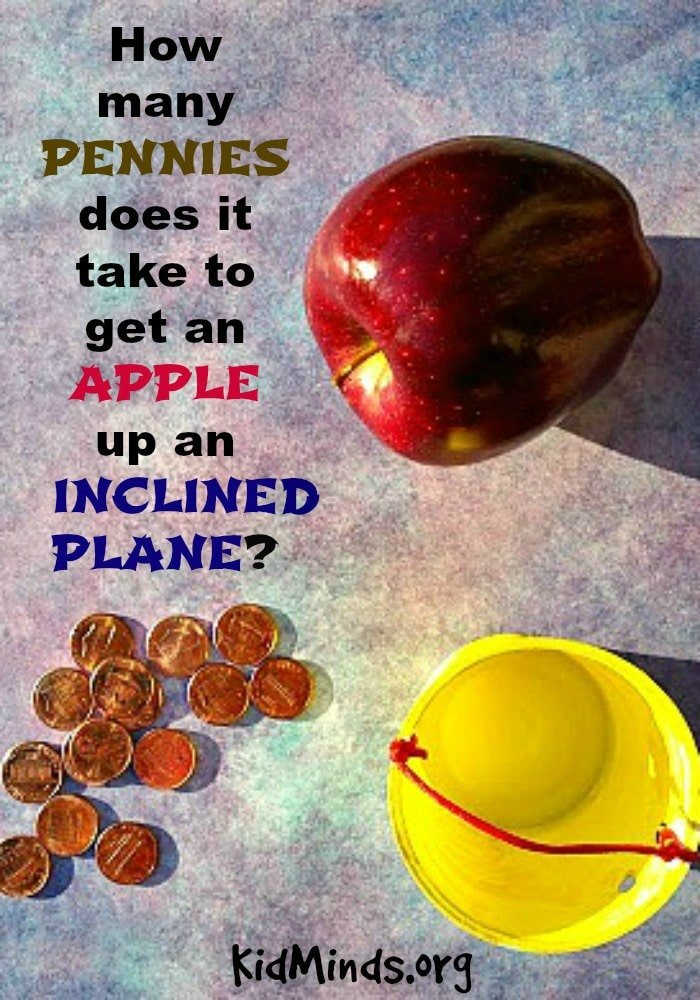 How many pennies does it take to get an apple up an inclined plane?  Simple science for kids!  It's a great way to learn about gravity and motion, easy to set up and something kids enjoy doing over and over again. #apples #science #inclinedplane #pennies #fall