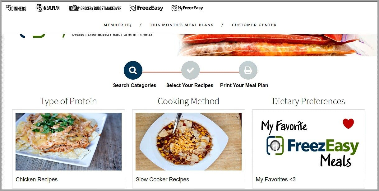 Make-ahead dinners for busy families with MyFreezEasy.com.  Build a custom meal plan or use one of the eight available meal plans, and get cooking!