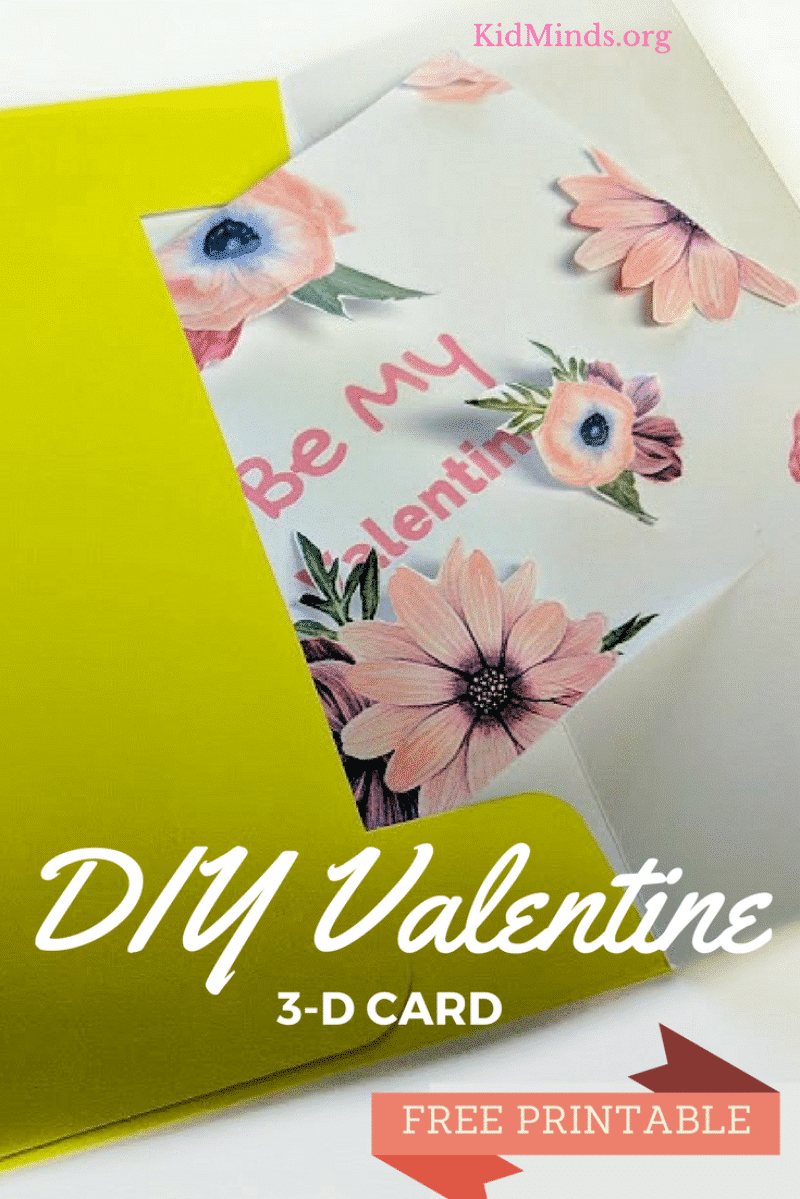 DIY Valentines Day 3D Card Printable KidMinds – Valentines Diy Cards
